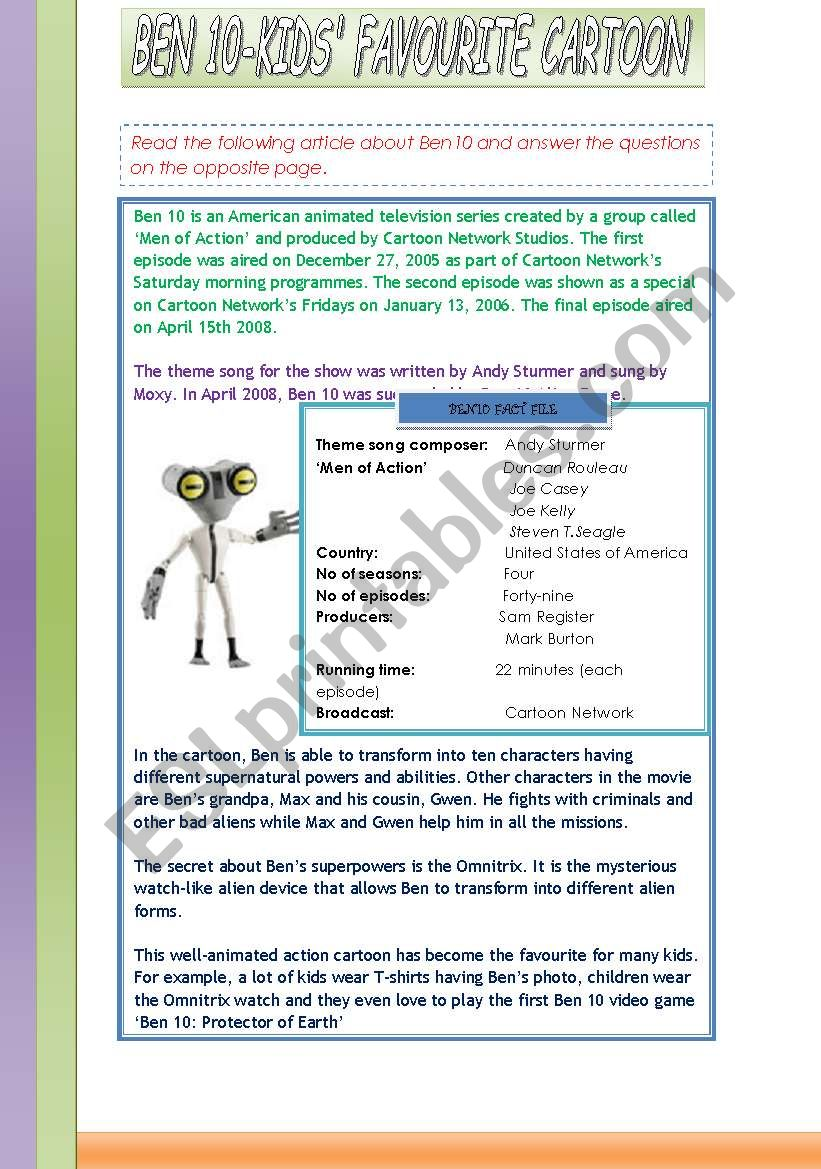 Ben10-Kids´ Favourite Cartoon - ESL worksheet by fsams