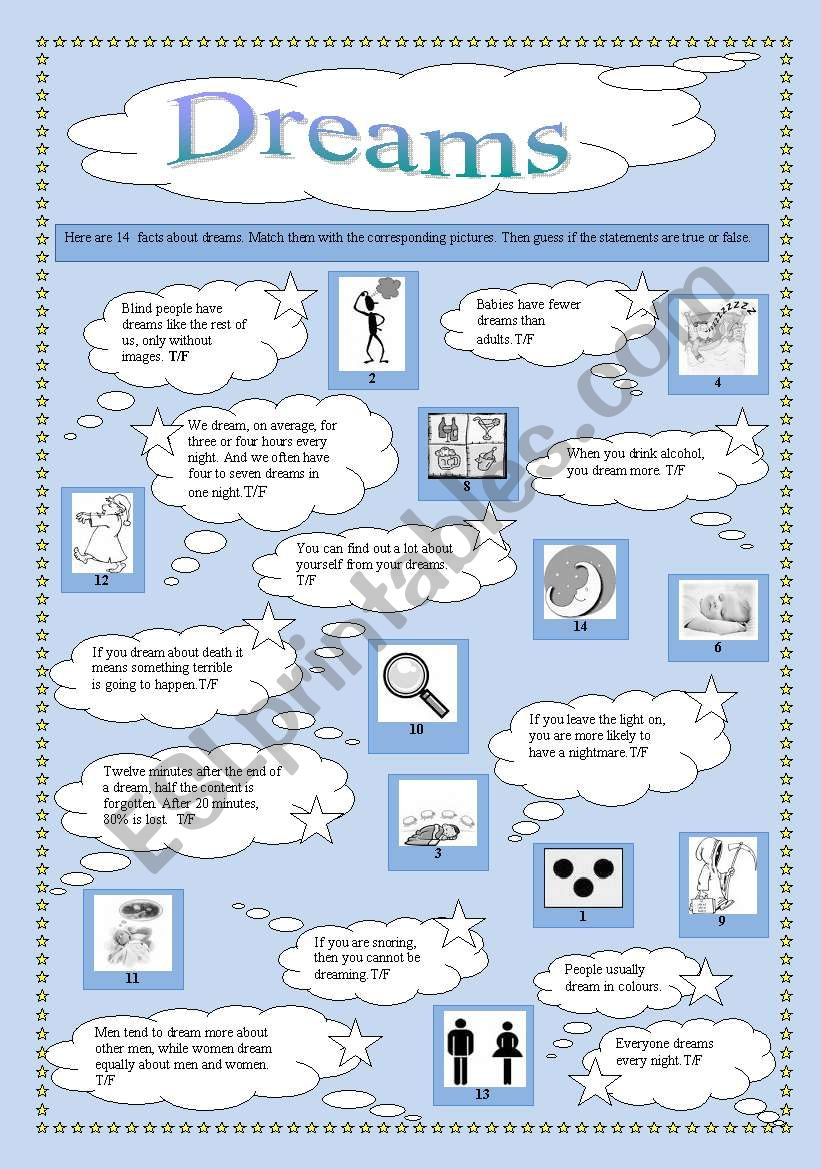 Facts about dreams worksheet
