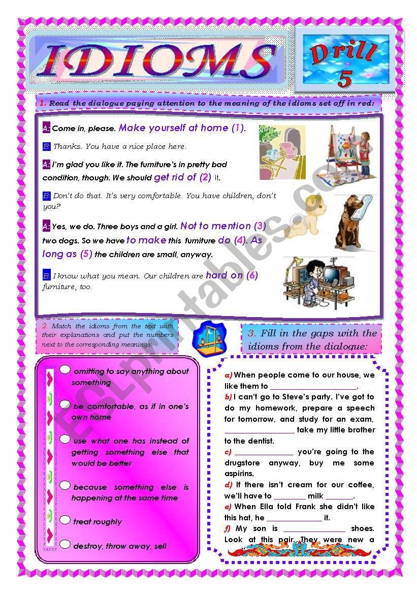 Idioms, Drill 5 worksheet