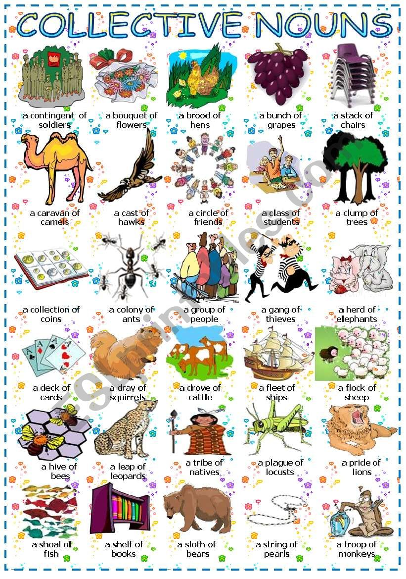 Collective nouns + of worksheet