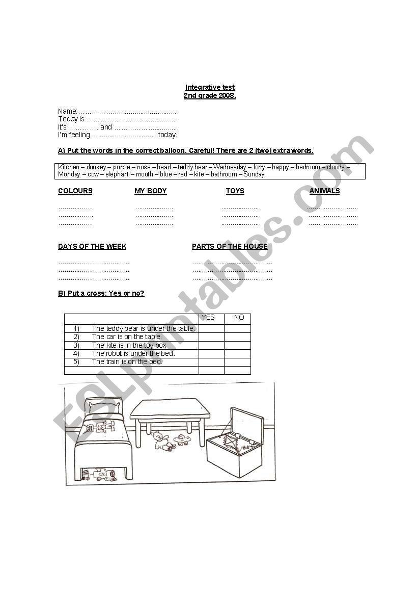 Integrative test worksheet
