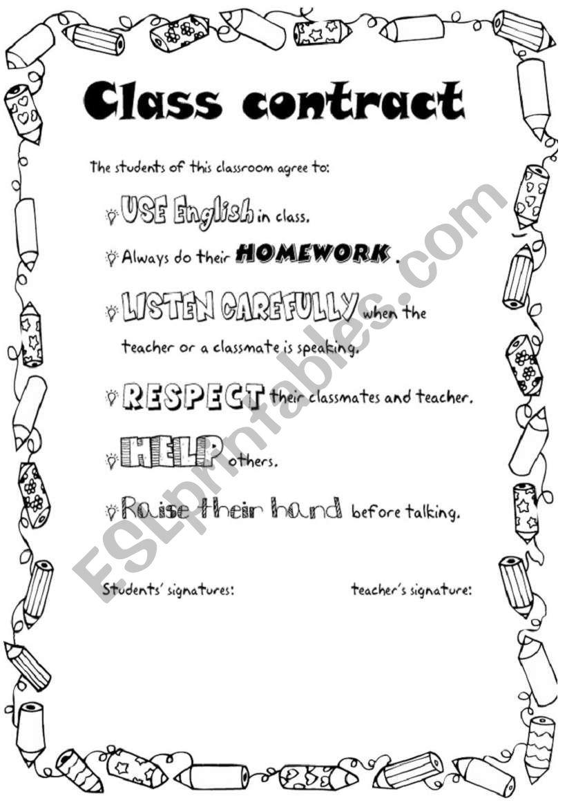 Class contract  worksheet