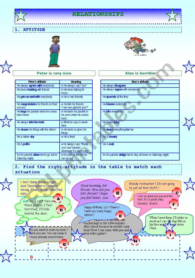 RELATIONSHIPS vocabulary ,activities and key for teachers