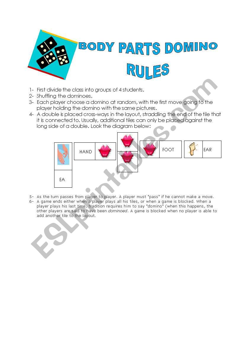 Body Part Domino - Cards (Rules)