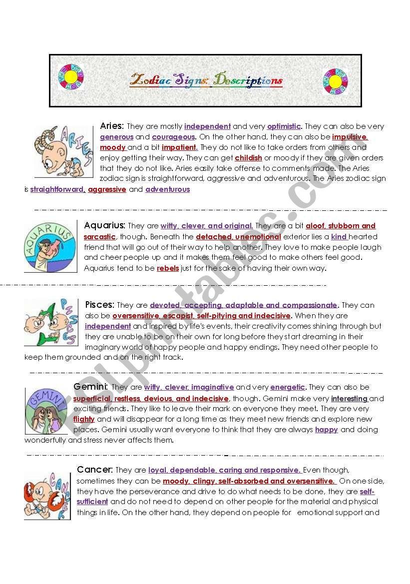 Describing personality: Zodiac