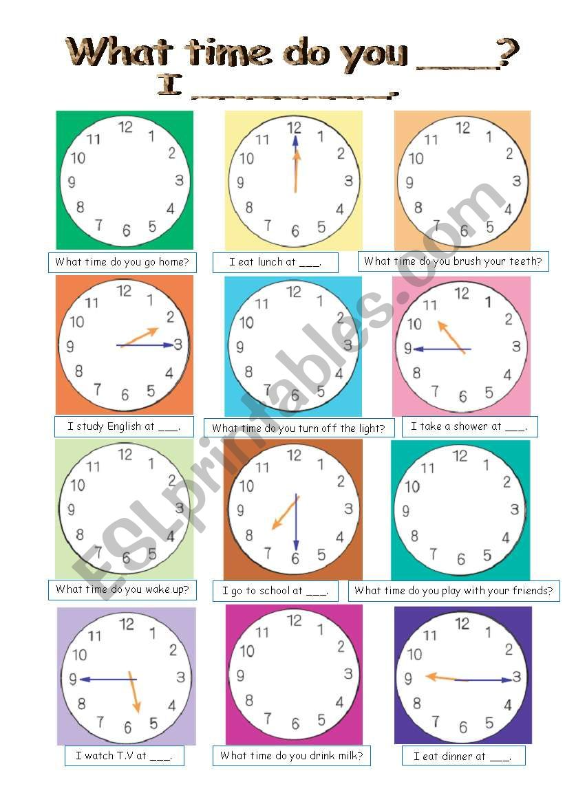 Pair work conversation (4pages, sheet A and B, clock and flash cards)