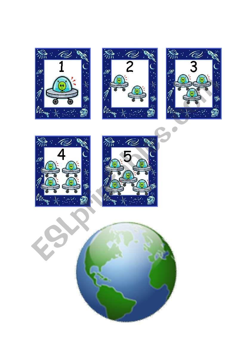 English Worksheets Five Little Men In A Flying Saucer