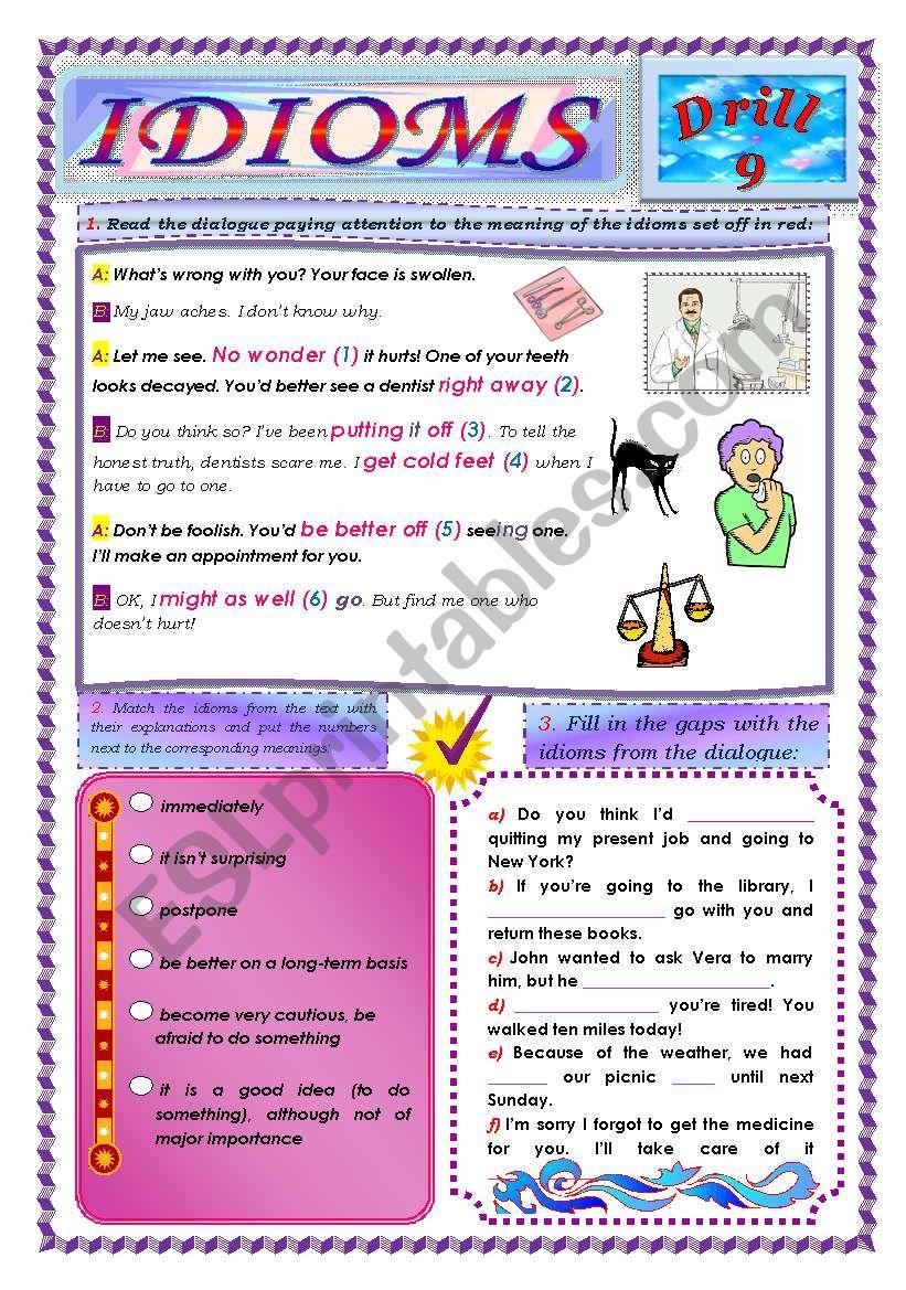 Idioms, Drill 9 worksheet