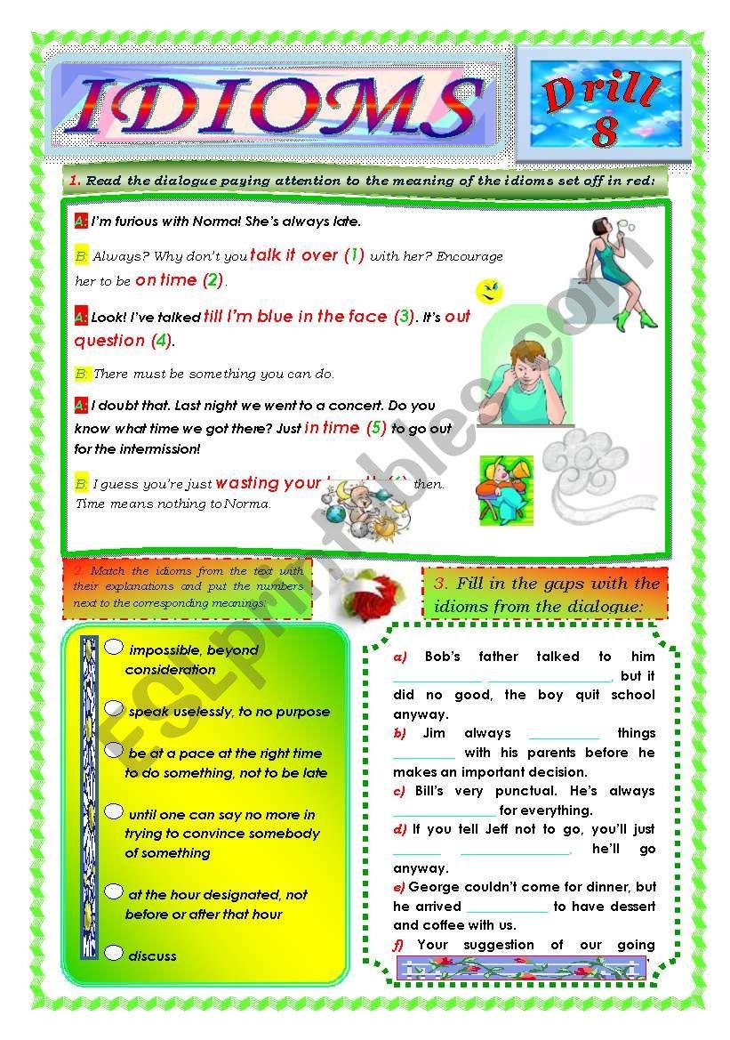 Idioms, Drill 8 worksheet