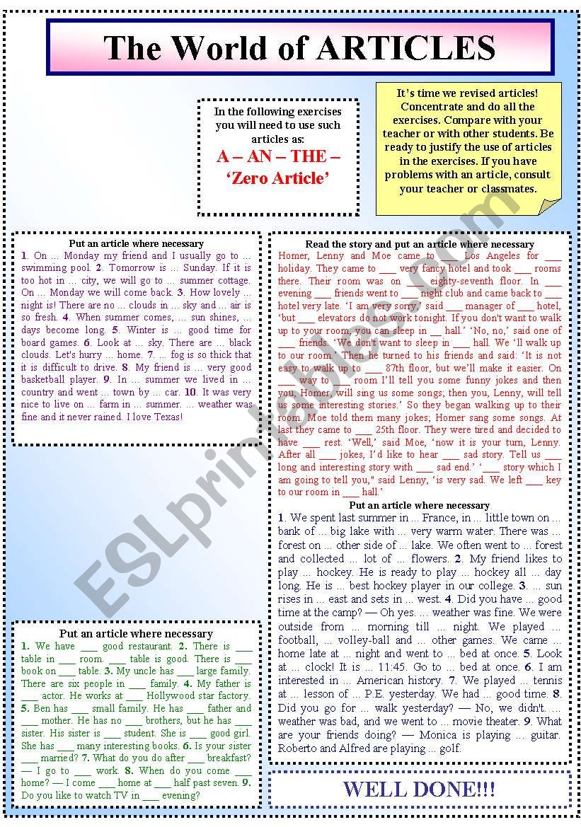 The World of Articles worksheet