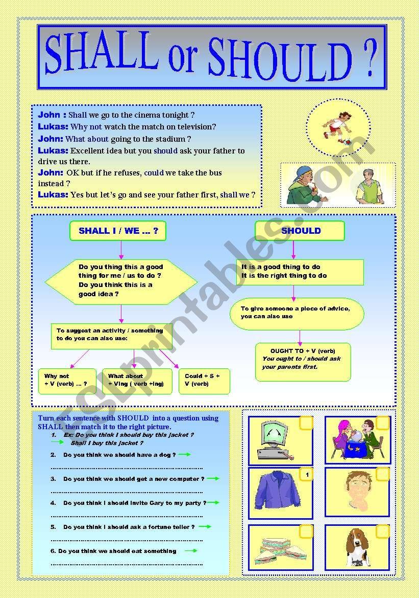 SHALL or SHOULD ? worksheet