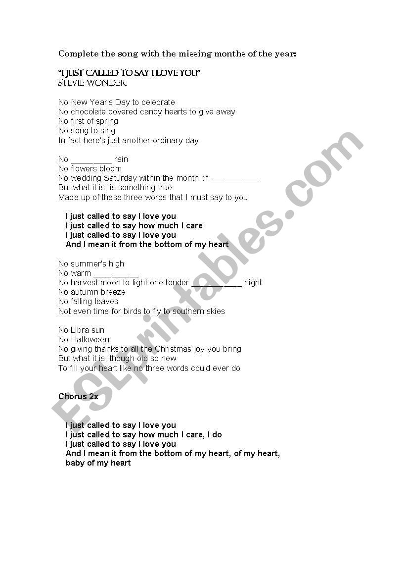 English worksheets: Song: I JUST CALLED TO SAY I LOVE YOU