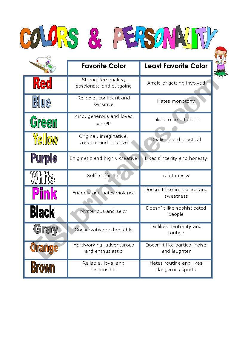 Colors And Personality Esl Worksheet By Dayssb