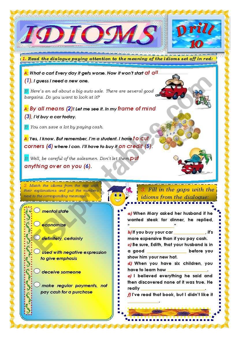 Idioms, Drill 10 worksheet
