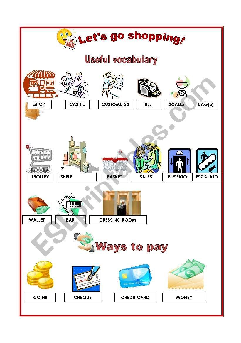 Shopping - Vocabulary worksheet