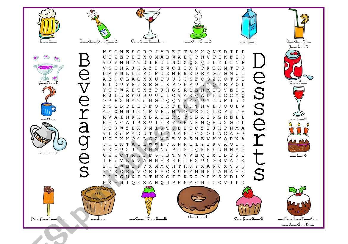 Beverages and Desserts worksheet