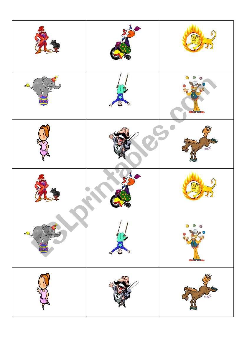 memory cards circus worksheet