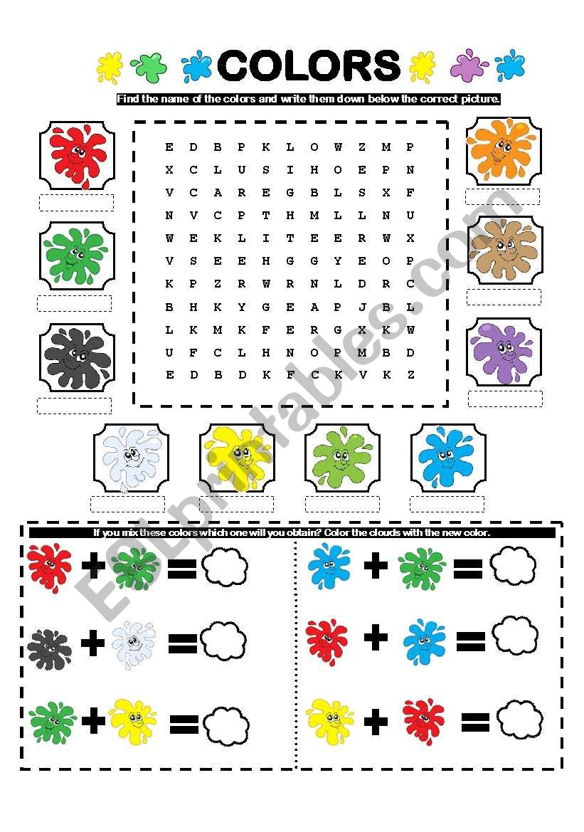 colors wordsearch mixing colors esl worksheet by la luna. Black Bedroom Furniture Sets. Home Design Ideas
