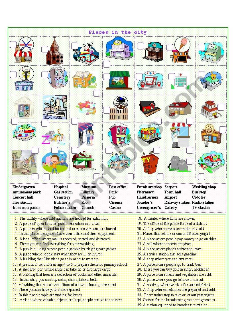 Places in the city 1 worksheet