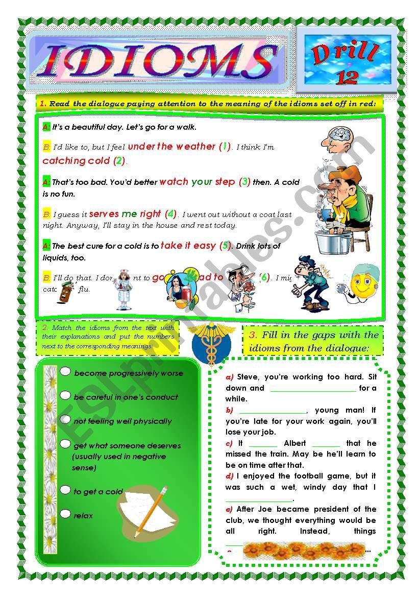 Idioms, Drill 12 worksheet