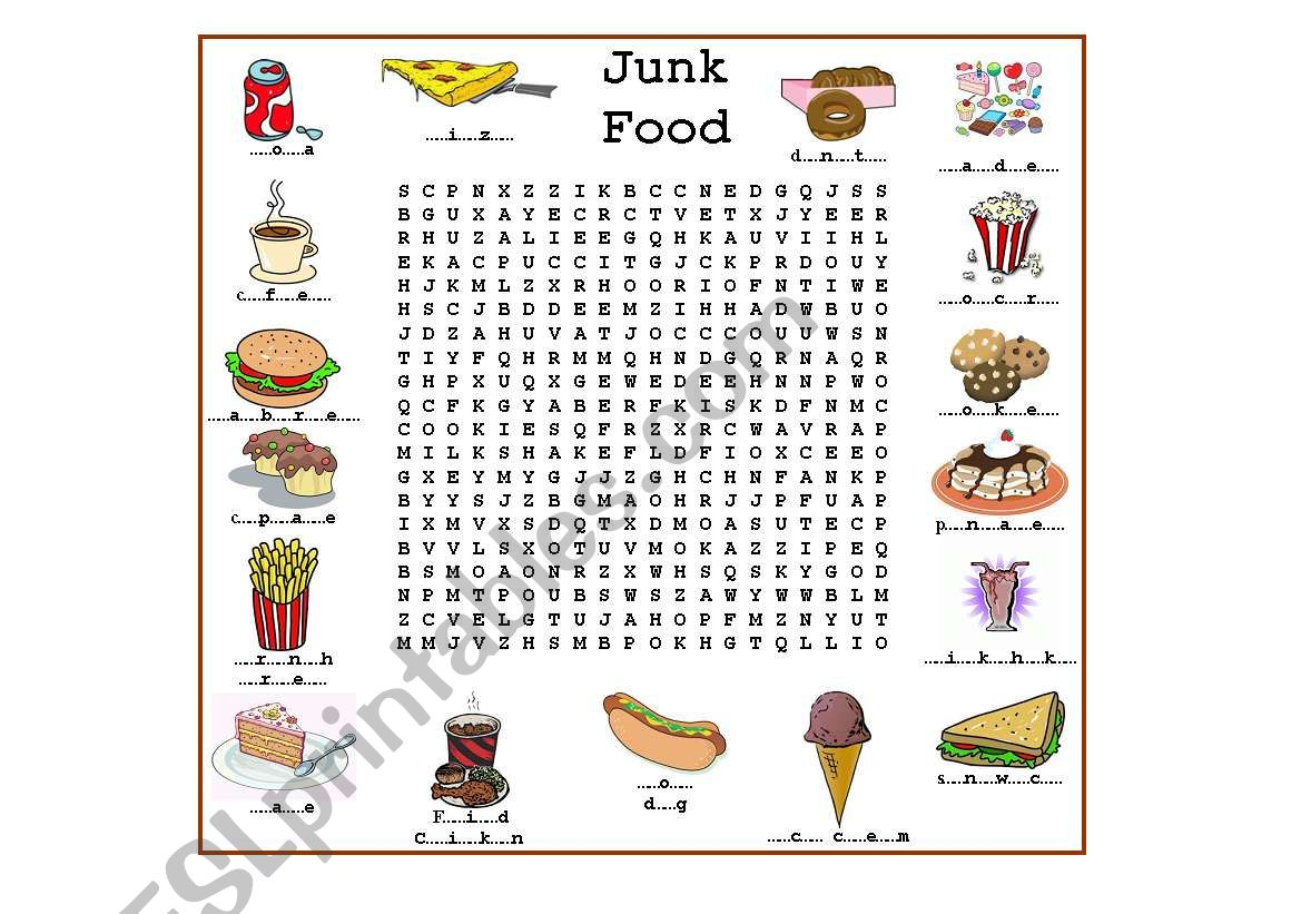 Junk Food - ESL worksheet by luoliveira