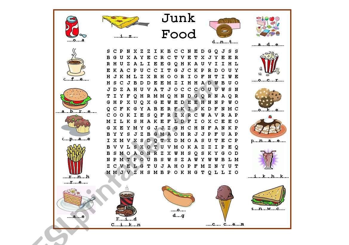 Junk Food worksheet