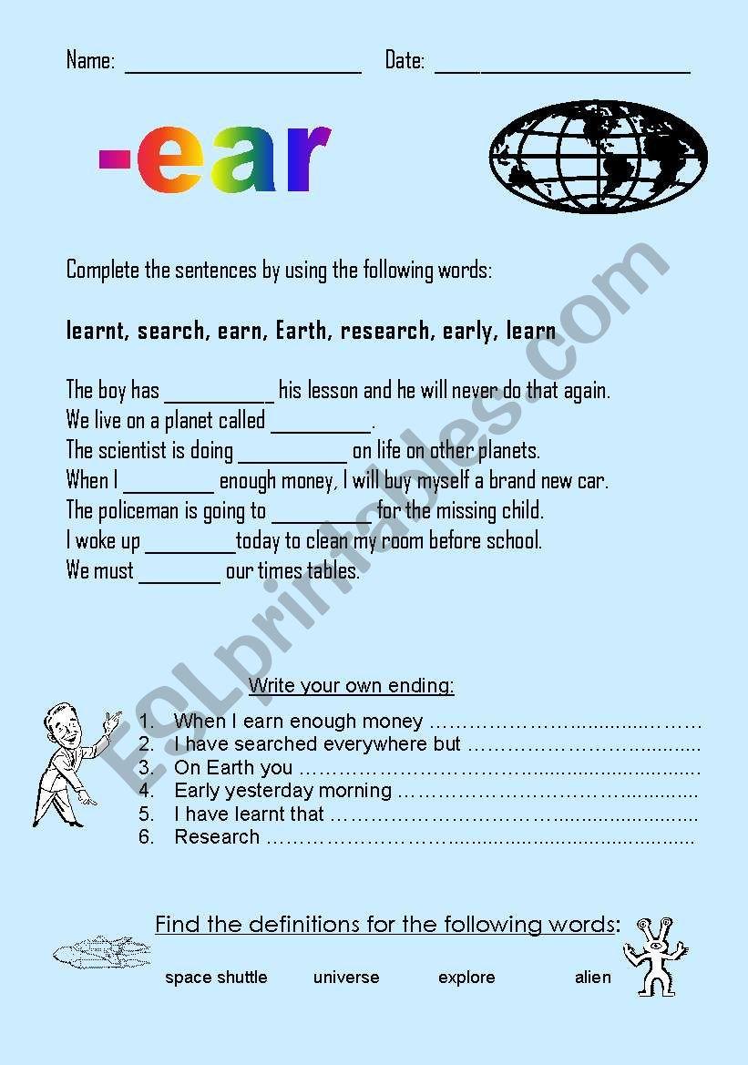-ear words worksheet