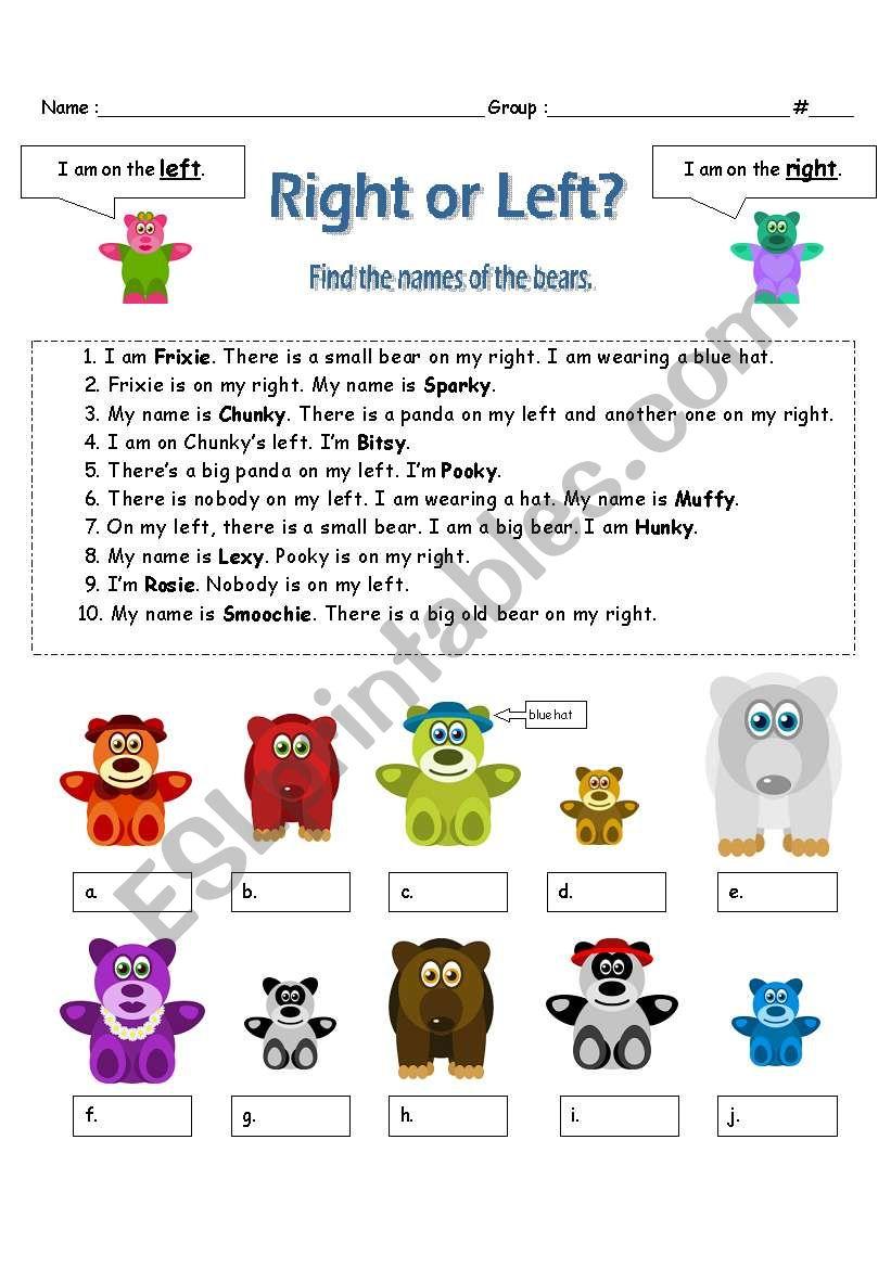 Right or left? worksheet