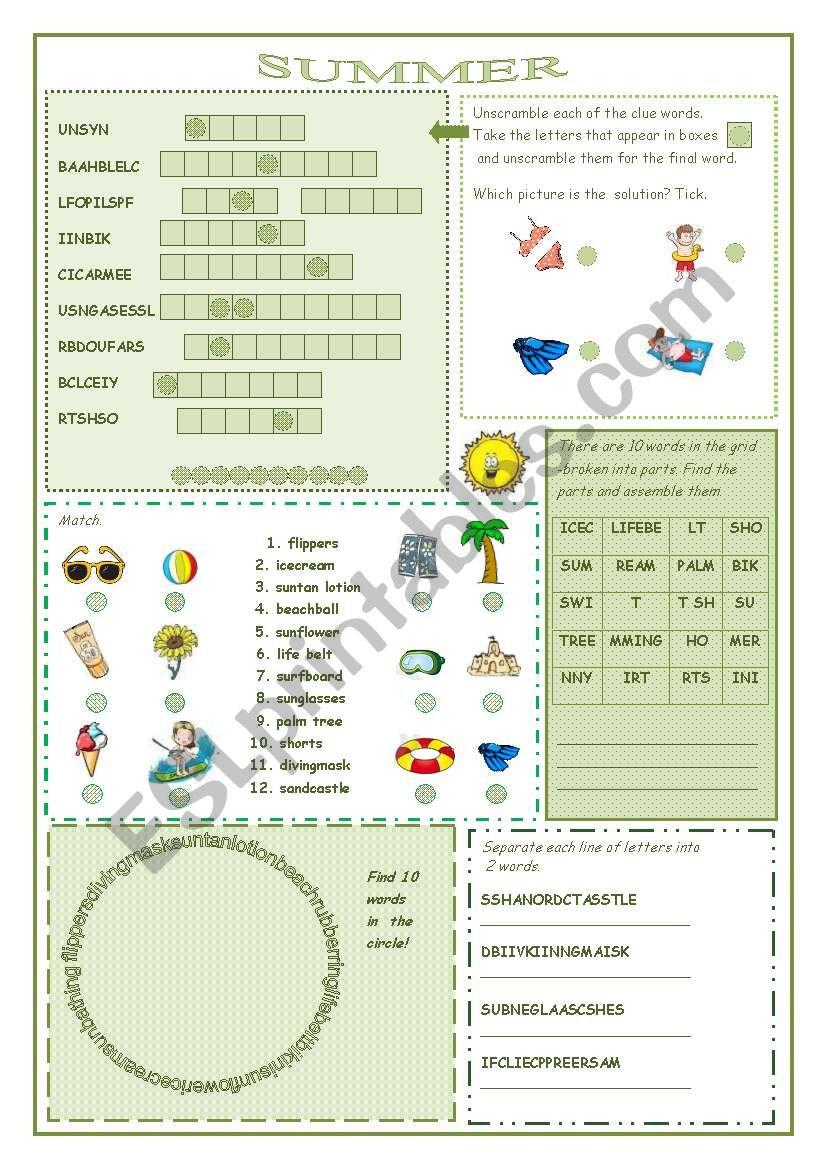Summer worksheet