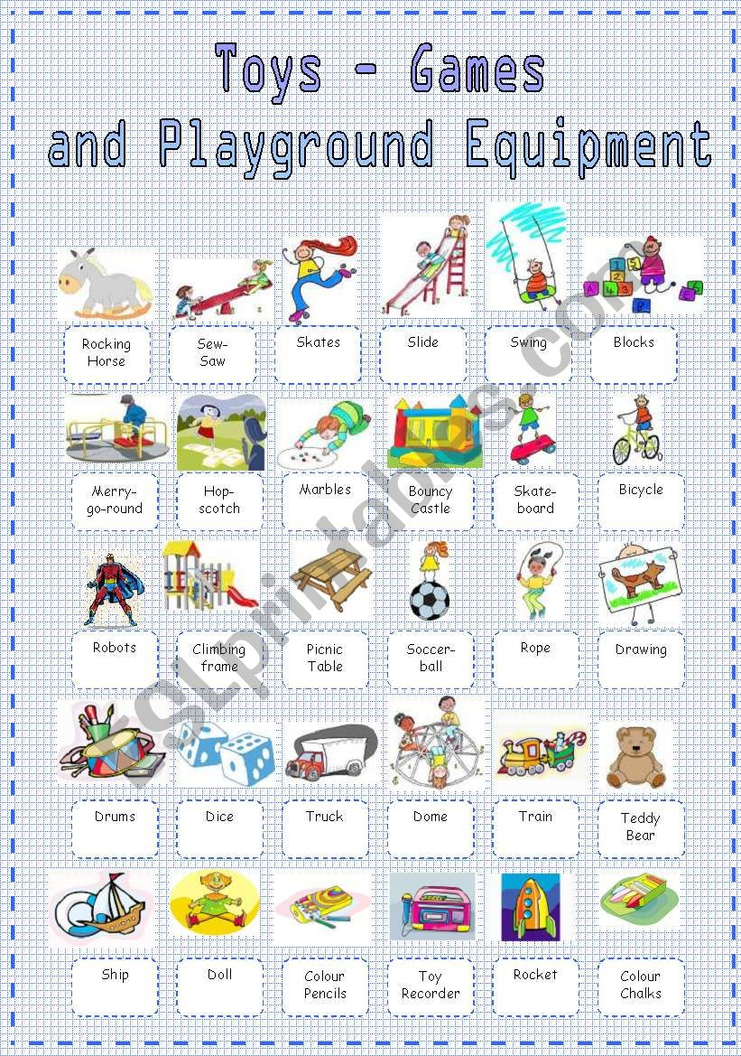 Toy Vocabulary Game : Toys games and playground equipment vocabulary esl