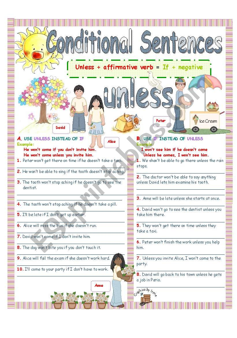 UNLESS (Conditional sentences)2/4