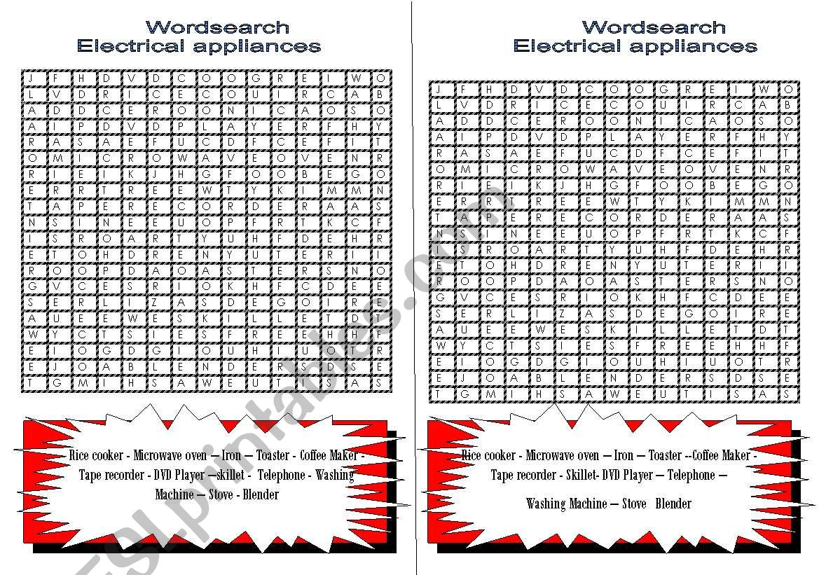 ELECTRICAL APPLIANCES- WORDSEARCH