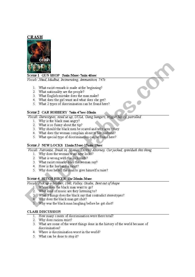 crash movie worksheet worksheet