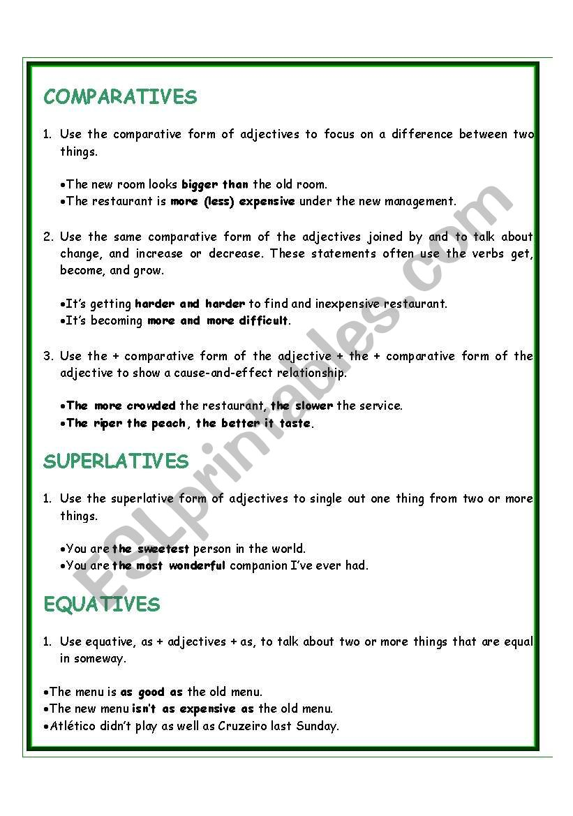 269514_1-COMPARATIVES_SUPERLATIVES_EQUATIVES Esl Comparative Worksheet Pdf on free transportation, family relatives, family members, intermediate grammar, classroom language, first conditional, body parts, food vocabulary,
