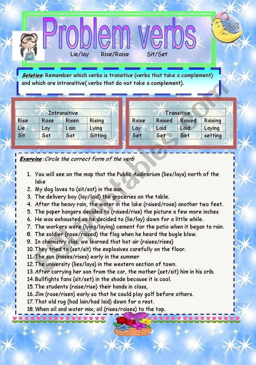 Problem verbs worksheet