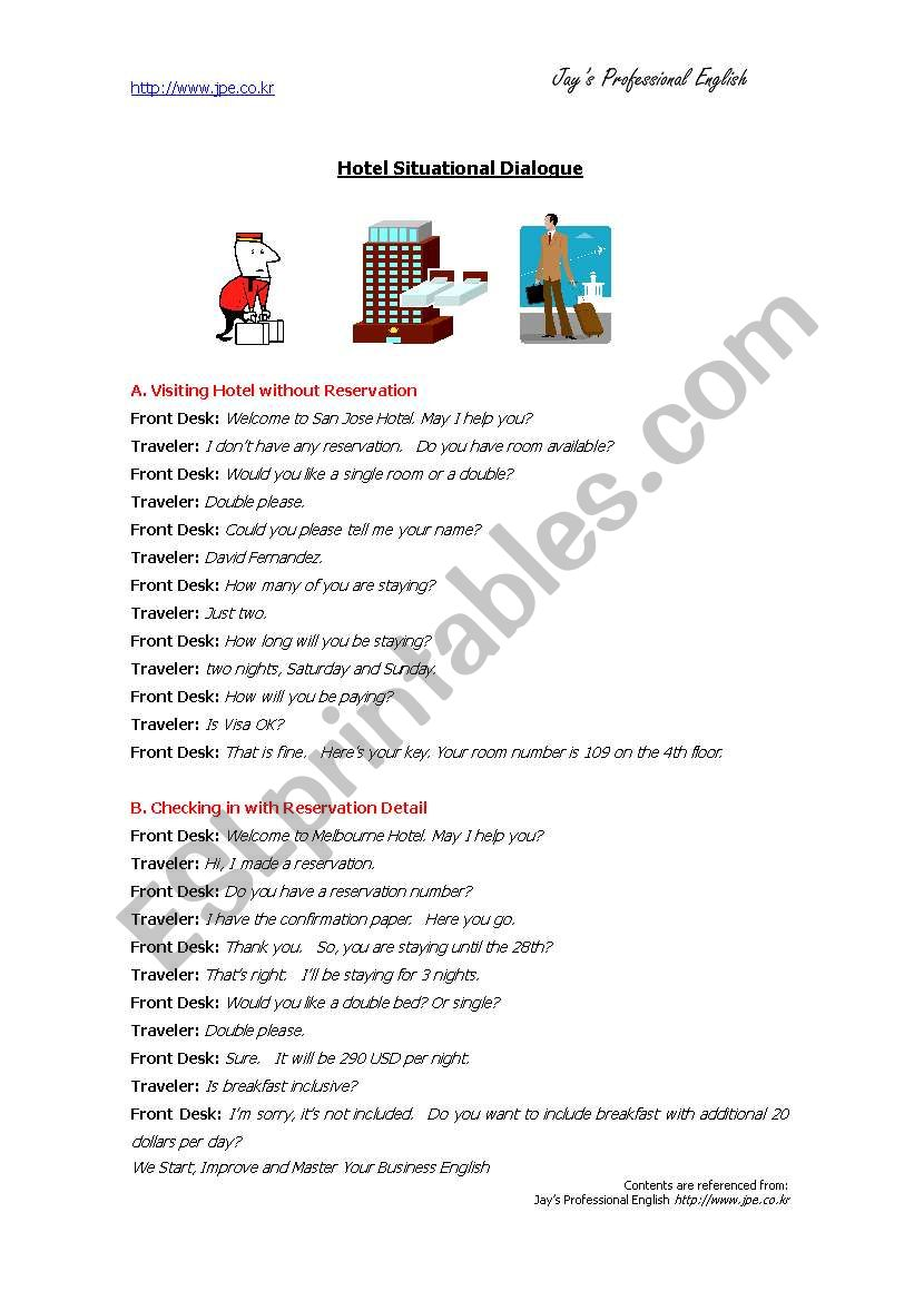Hotel Checkin Situational Roleplay Esl Worksheet By Milsons
