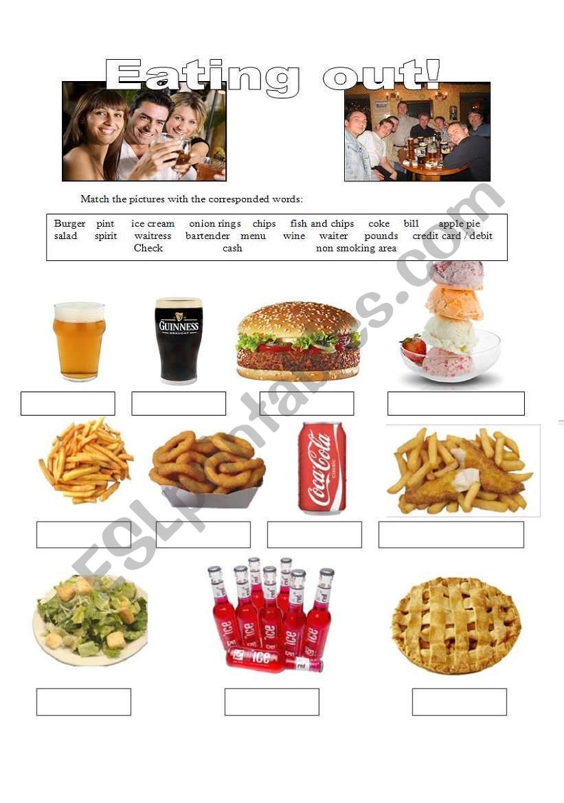Eating out  1 - Vocabulary worksheet
