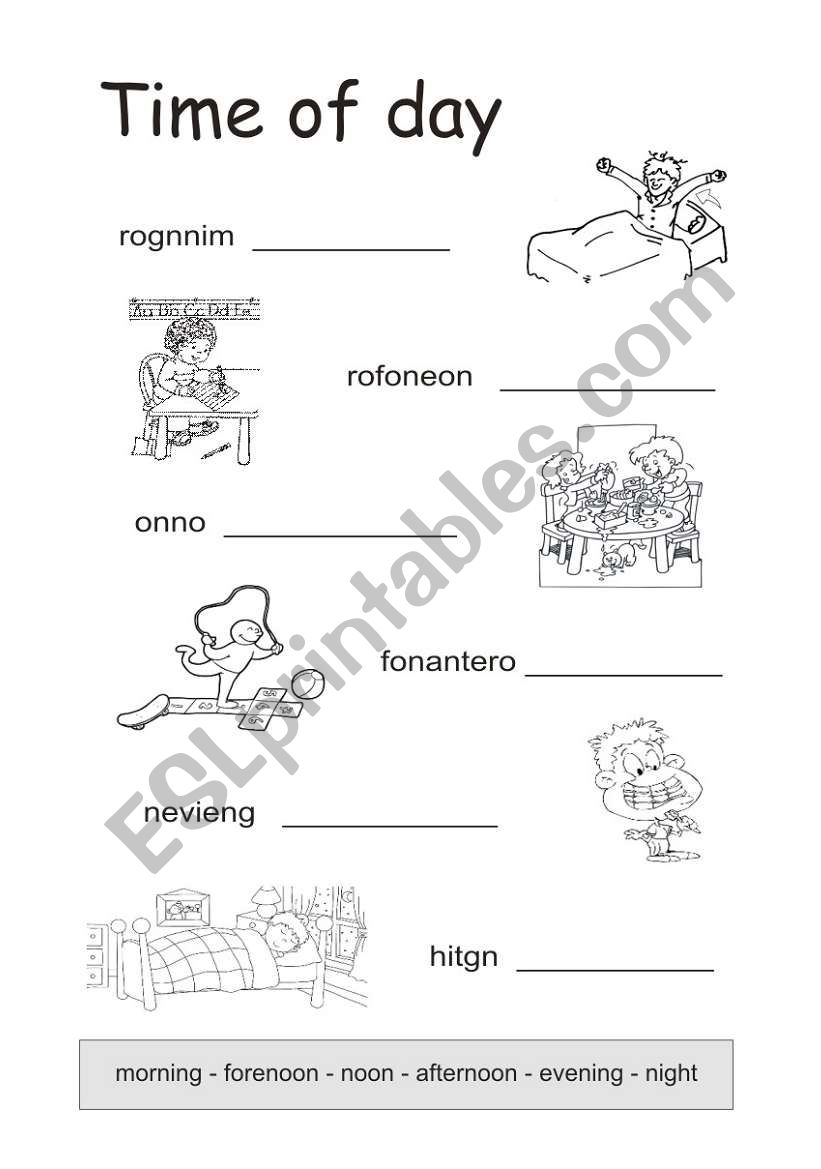 times of the day esl worksheet by schlumpf8. Black Bedroom Furniture Sets. Home Design Ideas