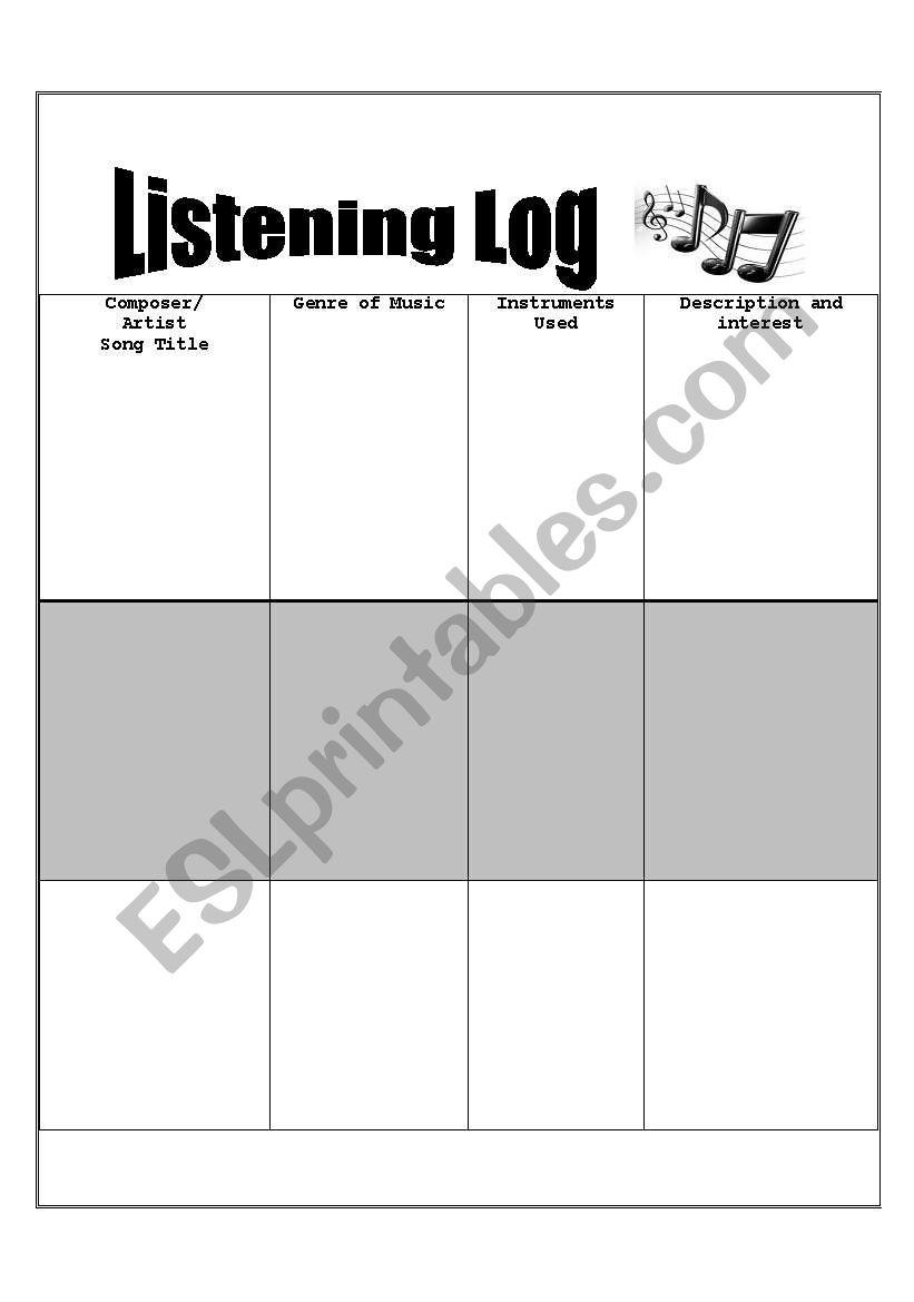 english worksheets listening log for musical ear training. Black Bedroom Furniture Sets. Home Design Ideas