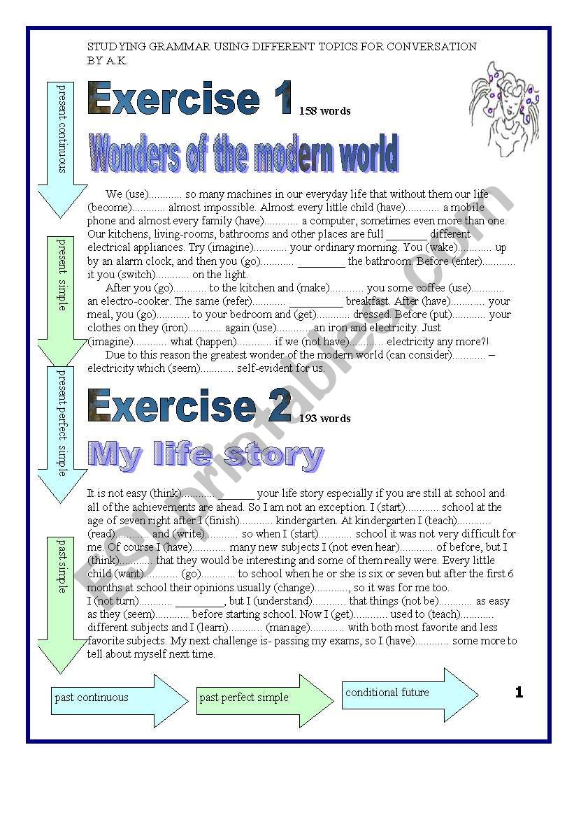 5 pages Teaching Tenses using Topics for conversation KEY included