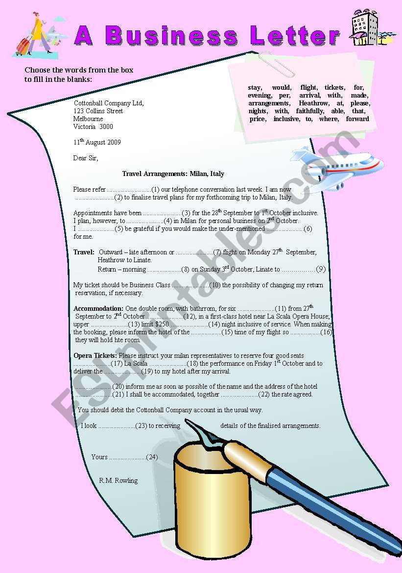 Writing A Business Letter Cloze Activity Parts Of Speech Elementary Esl Worksheet By Ranclaude