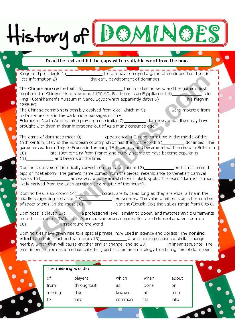 picture about Chain Reaction Word Game Printable identified as Record of DOMINOES - ESL worksheet through baiba