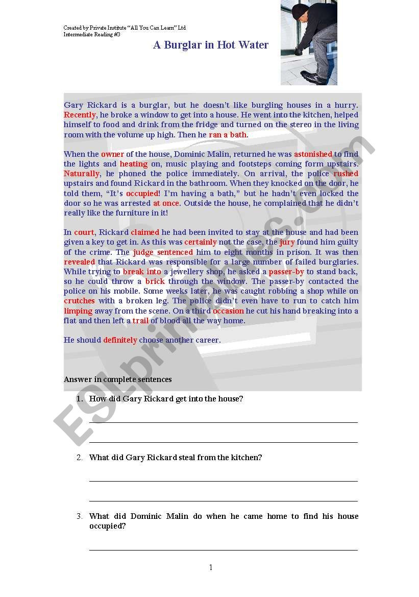 The robbery worksheet
