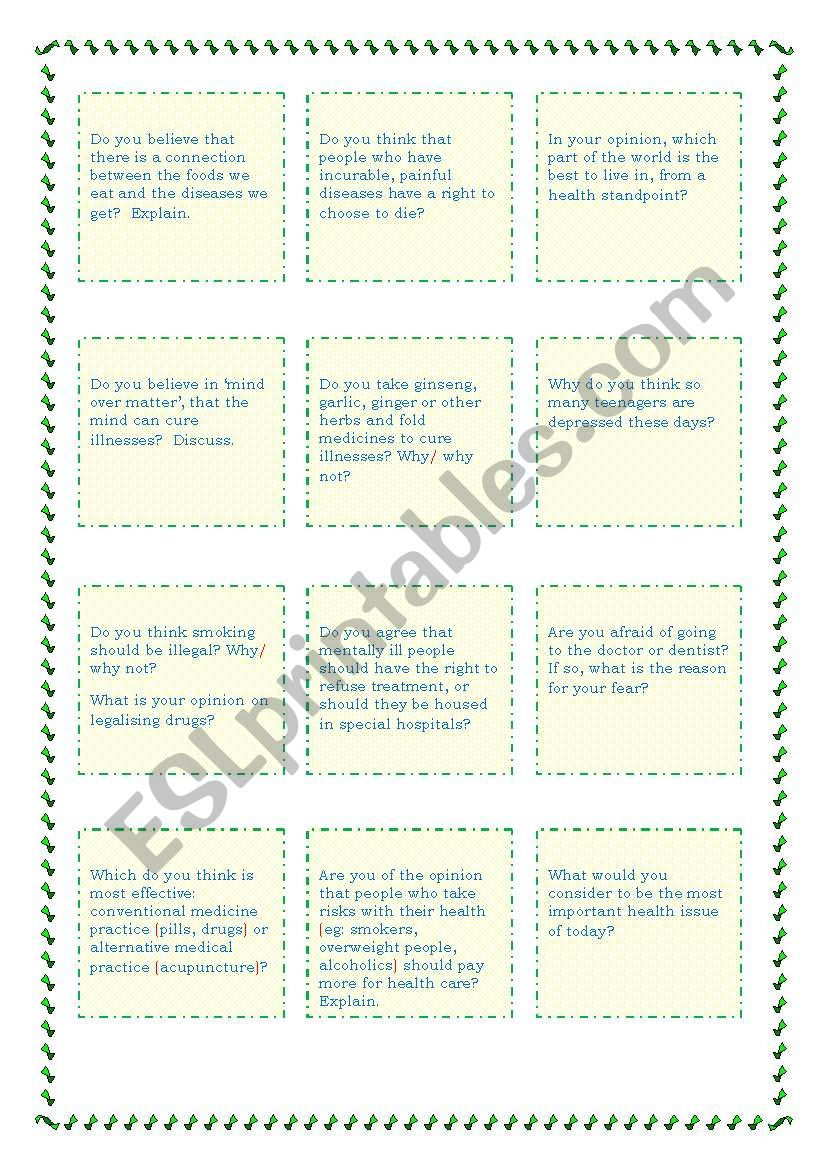 Discussion cards - Health Colour and B&W versions - suitable for CAE/CPE speaking activities - 4 pages
