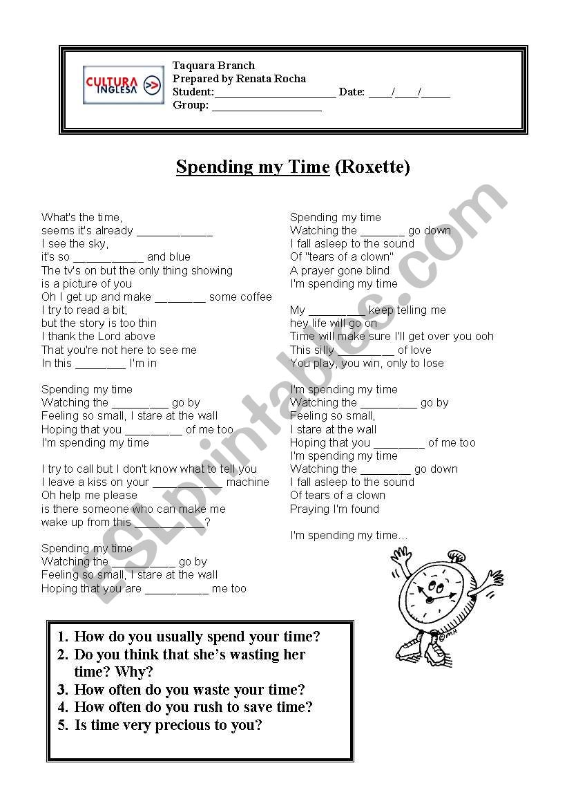 English Worksheets Spending My Time Roxette