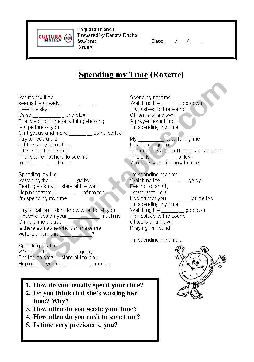 Spending my time - Roxette - ESL worksheet by RRocha