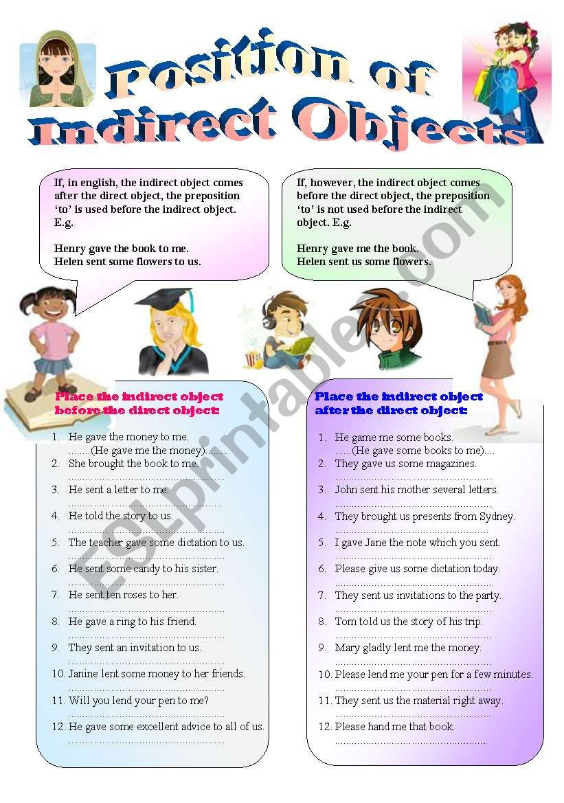 u0026quot the position of indirect objects u0026quot