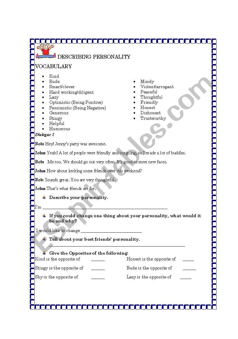 Describing Personality Esl Worksheet By Thulz