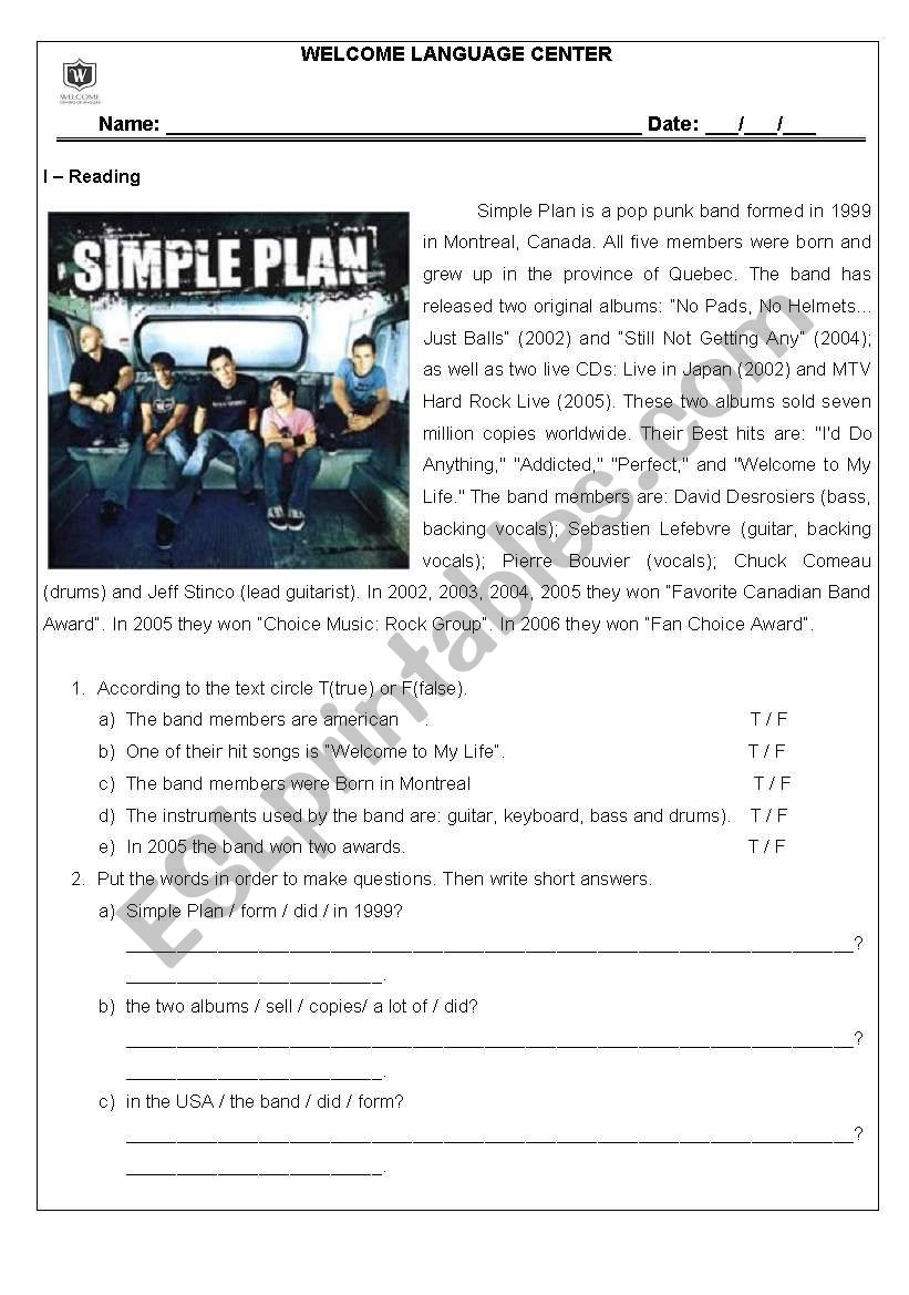 Reading - Simple Plan worksheet
