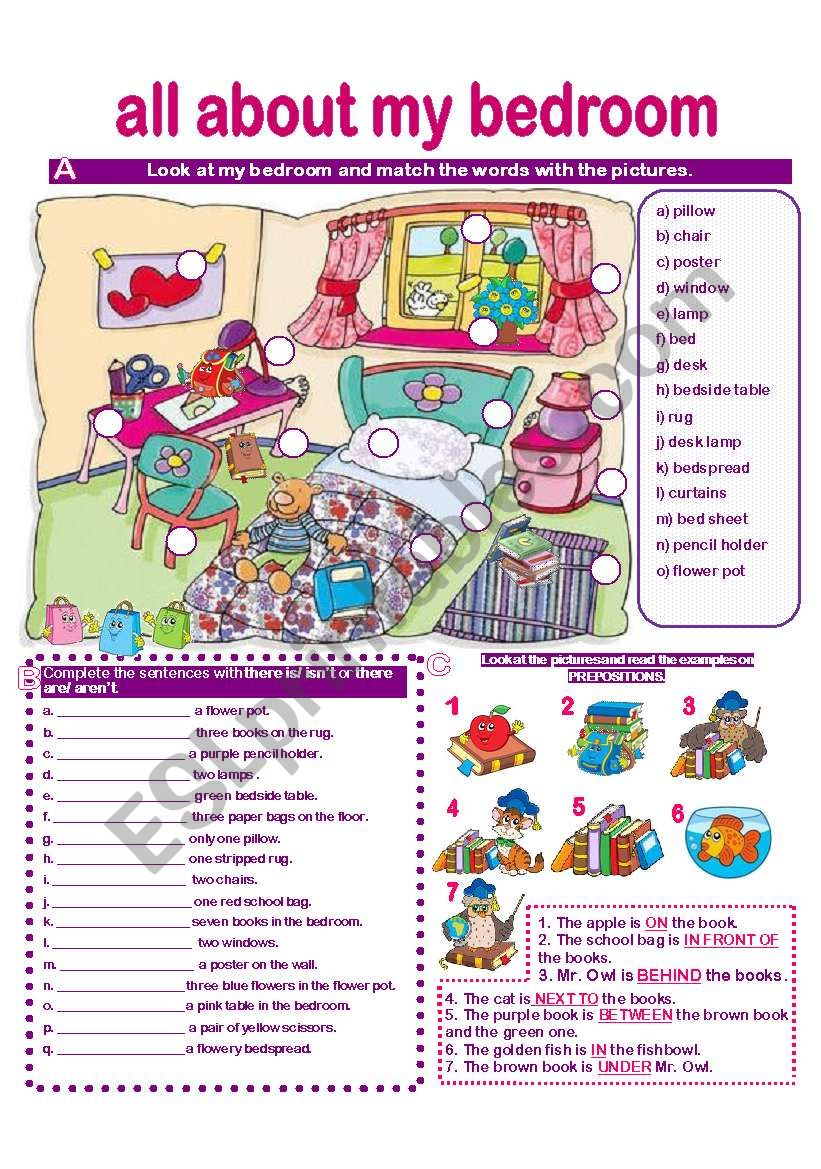 BEDROOM VOCABULARY- MATCHING- THERE IS/ARE-ISN´T/AREN´T-PREPOSITIONS-SPEAKING ACTIVITY-WRITING ACTIVITY- answer key provided.